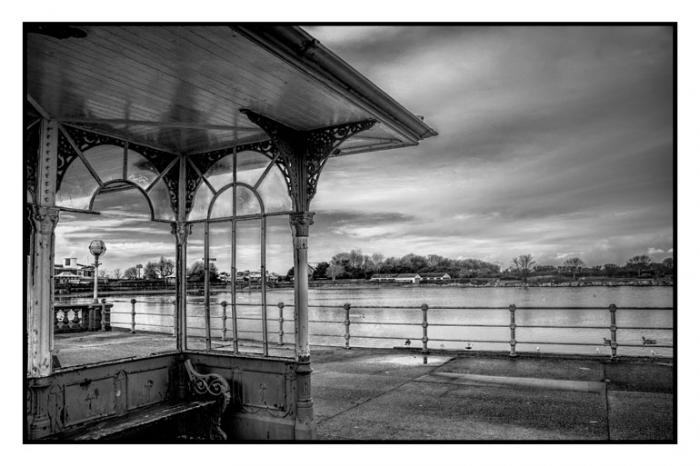 Old Victorian shelter and Marine Lake, Southport, (Beauty in Decay)
