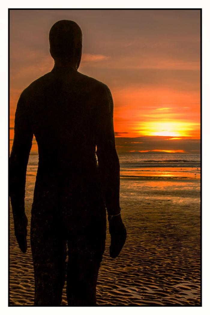 Looking into the setting sun, Another Place, Crosby Beach