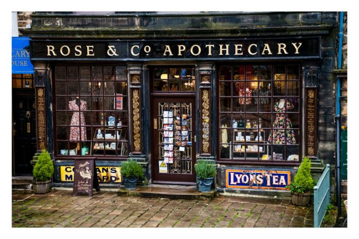 The old Rose & Co Apothecary, Haworth