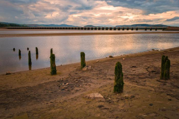 Arnside Pier Ruins and the Kent Viaduct, Arnside, Cumbria