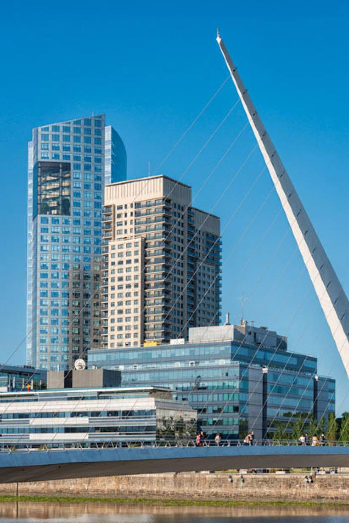 Womans Bridge and modern architecture, Puerto Madero, Buenos Aires