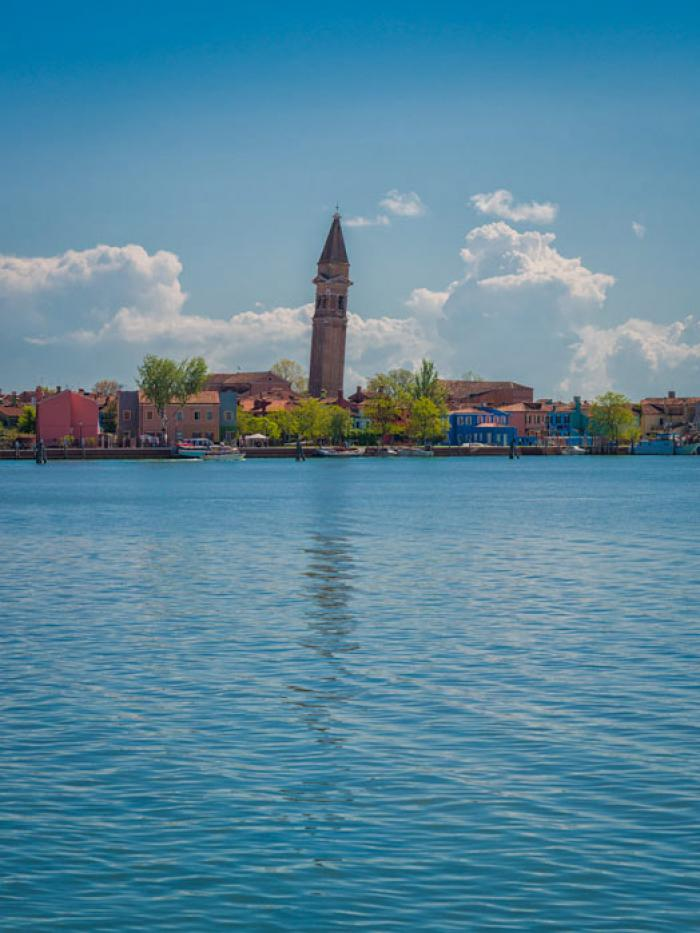 The Island of Burano and the leaning Tower of St Martin's, Venetian Lagoon