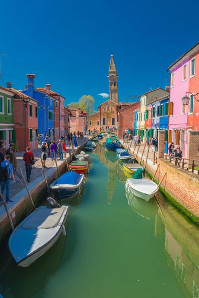 Colourful Burano with the leaning Bell Tower of St Martin's Church