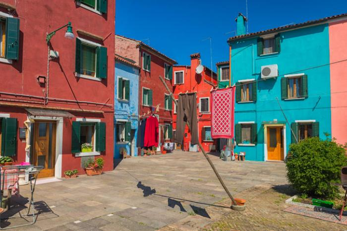 Brightly coloured houses, Burano, Venetian Lagoon